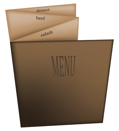 Multipage menu in a restaurant on thick paper with a cover