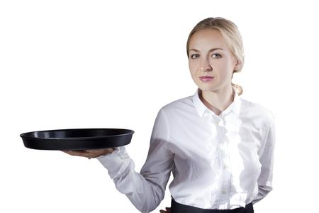 Girl waitress with tray on white background