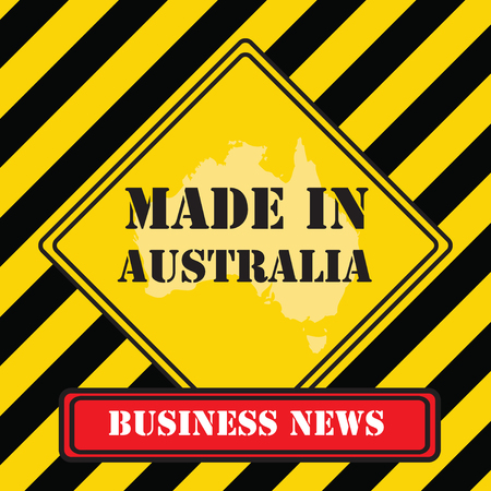Business news - made in Australia with black and yellow stripes design. Vector illustration. Иллюстрация