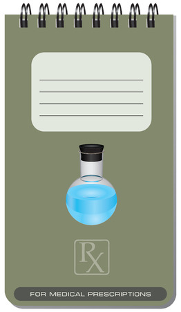 Notepad for medical prescriptions with medical bottle on the cover vector illustration design