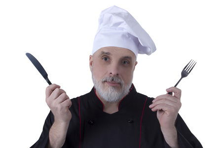 Bearded chef with a knife and fork