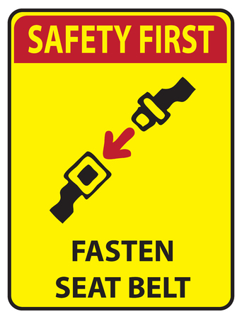 Instruction of seat belt safety icon on yellow color. Çizim