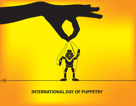 International Day of Puppetry with a hand holding a puppet.