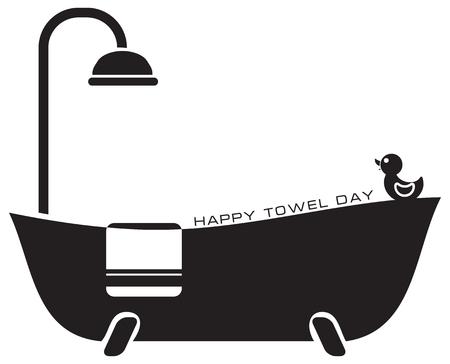 Holiday in May - Happy Towel Day. Vector illustration. Ilustração