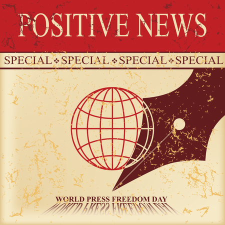 News sheet - Special positive news on the old paper. World Press Freedom Day Vector illustration. Stockfoto - 99995653