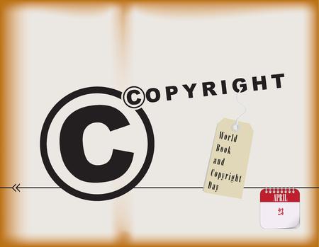 Wereldboek- en copyrightdag - vakantie april. Vector illustratie Stock Illustratie