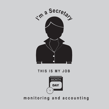 Woman icon with text I'm a secretary