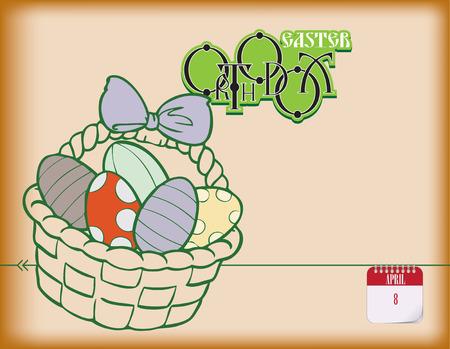 Orthodox Easter in the calendar poster. Vector illustration.