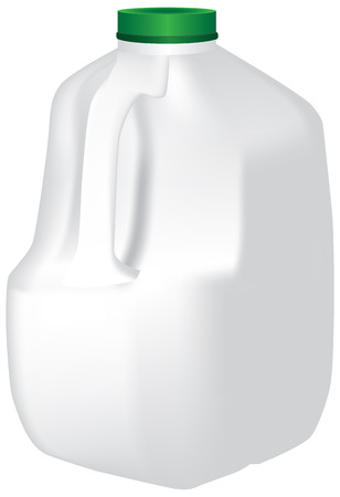 Plastic Standard Gallon jug of milk. Vector illustration of an organic milk package 向量圖像