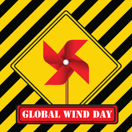 Industrial symbol - Global Wind Day. Vector illustration.  イラスト・ベクター素材