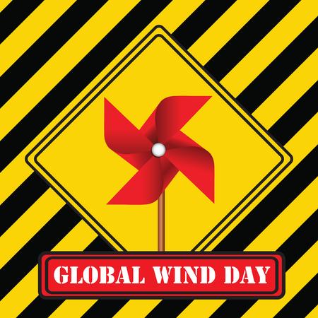 Industrial symbol - Global Wind Day. Vector illustration. Illustration
