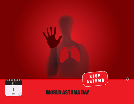 Calendar events of May - World Asthma Day, post card Illustration