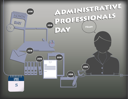 Cartel de vacaciones para el día de los profesionales administrativos o el día de la secretaria. Vector. Ilustración de vector