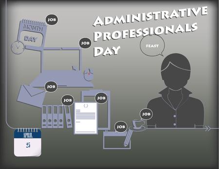 Vakantieaffiche voor Dag van Administratieve Professionals of Dag van de Secretaris. Vector. Vector Illustratie