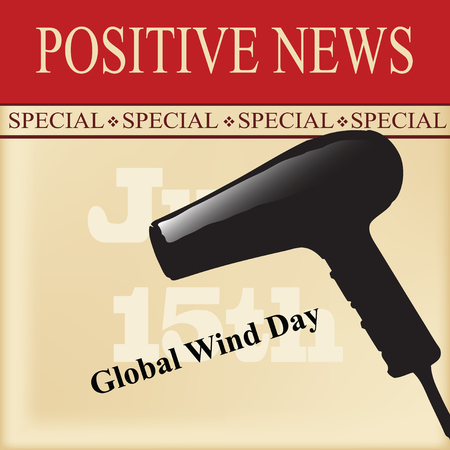 The positive news is June 15, World Wind Day Stock Illustratie