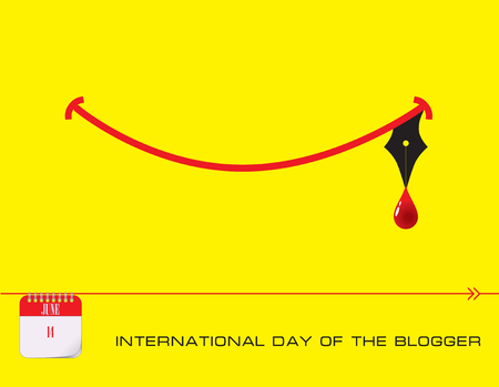 Calendar events of June - Congratulations for International Day of the blogger Illustration