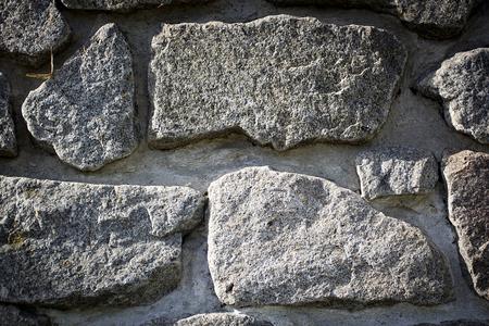 Ancient wall built of large stone closeup