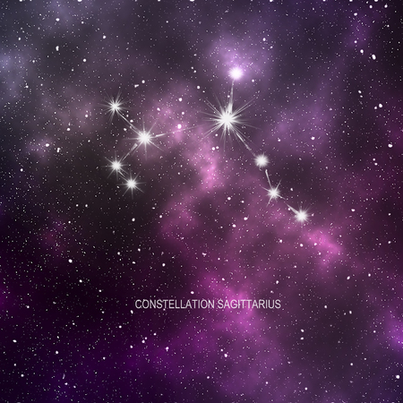 Space - star space with a violet nebula and Constellation Sagittarius  Stock Photo