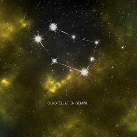 Space - starry space with a yellow nebula and Constellation Gemini