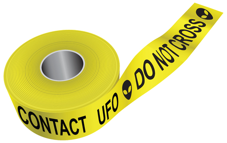 Warning tape. Not crossing, contact with UFOs Vektorové ilustrace