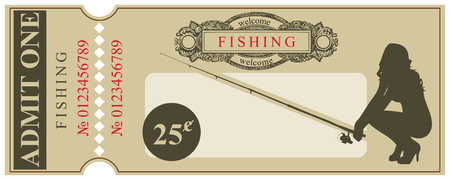 Ticket in the old style - Welcome to the fishing Illustration