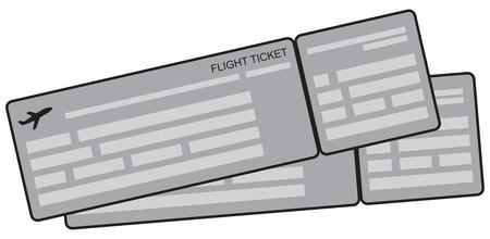 Symbolic image of airplane tickets. Vector illustration. Çizim