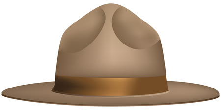 The uniform wide-brimmed hat of the ranger. Vector illustration.