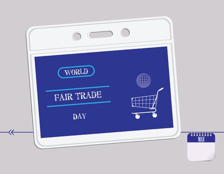 Calendar holiday of May - Post Card Fair Trade Day Standard-Bild - 104778102