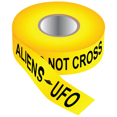 Yellow tape Do not cross - aliens ufo. Vector illustration. Ilustração