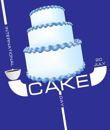 Three-tier birthday cake for the event international cake day Standard-Bild - 121823409