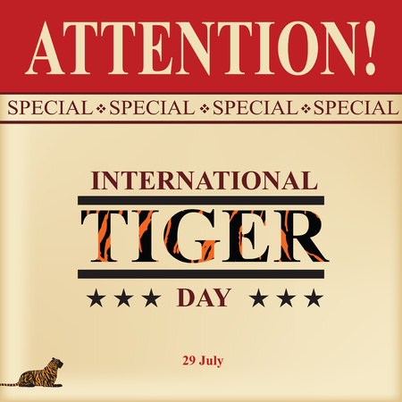 The old calendar page for the July 23 event - International Tiger Day