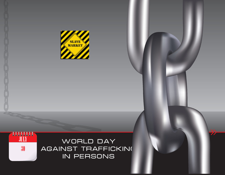 Chain for slaves to the slave market - World Day against Trafficking in Persons Ilustração