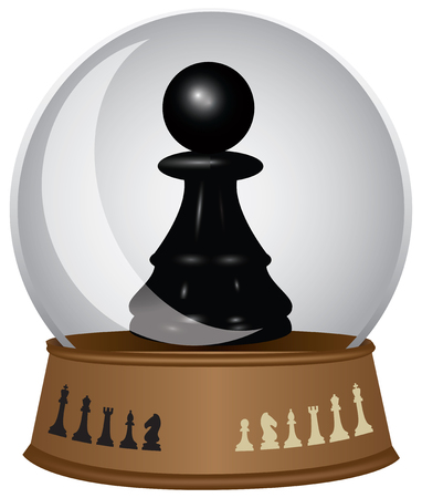 Glass sphere with a chess piece. Black pawn in a glass bowl