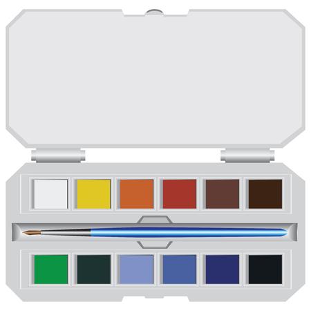 Un simple juego de pintura de acuarela con un pincel.