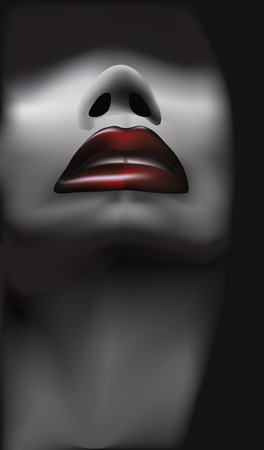 Picture of a female portrait of a thin woman with dark red lips