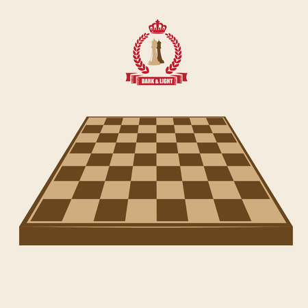 The chess poster is dark and light. Empty Chessboard and Chess Symbols Illustration