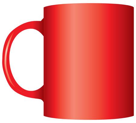 Classic office red mug for tea. Vector illustration.