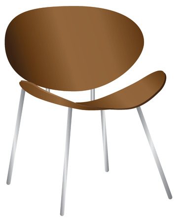 Wooden designer chair, chair legs made of metal Ilustração