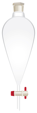 Glass conical separatory funnel with stopcock and plastic stopper Foto de archivo - 115158576