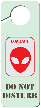 Classic sign on the doorknob - Contact with an alien Ilustração