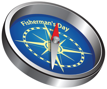 Creative compass pointing to event - Fishermans Day