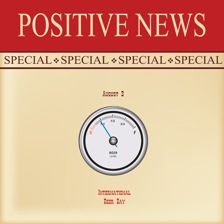 News sheet - Special positive news International Beer Day with pointer level indicator of beer