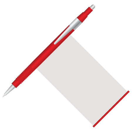 Red pen with built-in crib for answers to tests Vektorové ilustrace