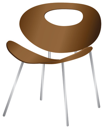 Wooden design chair, with a slot in the back.