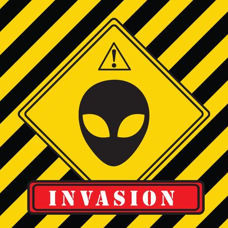 Industrial warning symbol. Invasion of aliens. Vector illustration. Illustration
