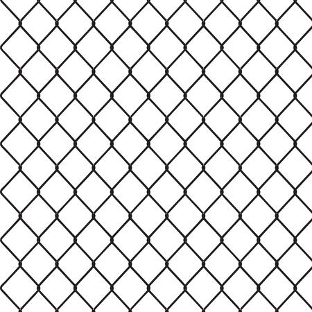 Segment of a metal mesh fence. Vector illustration.