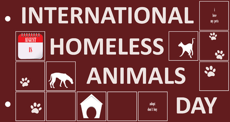 Post card for event International Homeless Animals Day. Vector illustration.