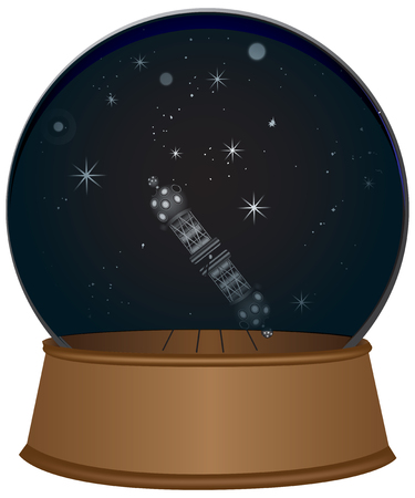 Glass sphere with a starry sky and a projector for a planetarium Ilustración de vector
