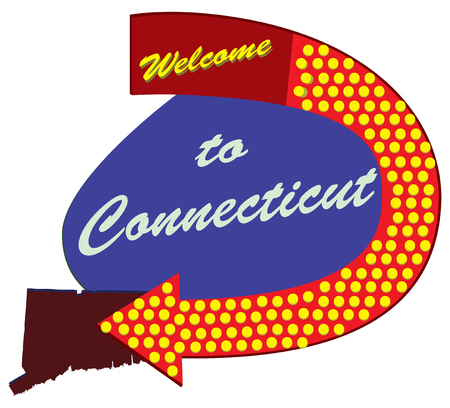Road sign Welcome to Connecticut, constructed and styled fifties Illustration
