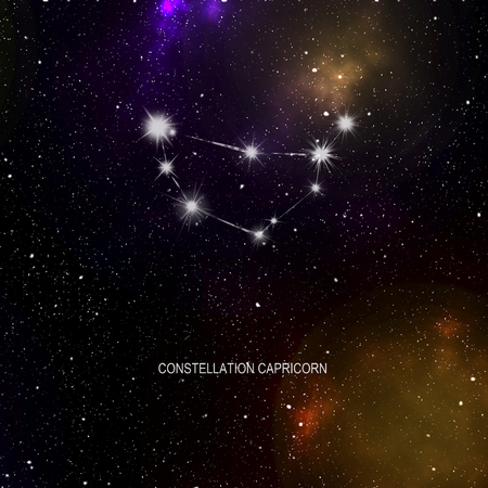 Space - starry space with a black nebula and Constellation Capricorn